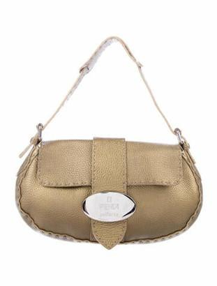 Fendi Selleria Baguette Flap Bag Gold