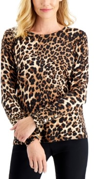 JM Collection Petite Cheetah-Print Sweater, Created for Macy's