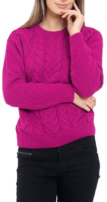 HAAS TRADING Womens Cable Knitted Long Sleeves Crew Neck Jumper Ladies Knit Baggy Sweater (Fuchsia L/XL(16-18))