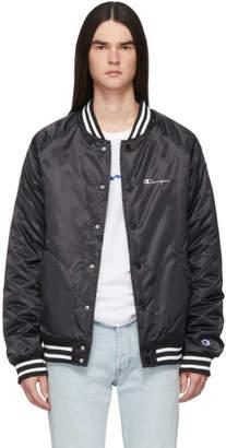 Champion Reverse Weave Black Popper Bomber Jacket