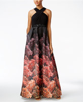 Adrianna Papell Jersey Printed Halter Gown