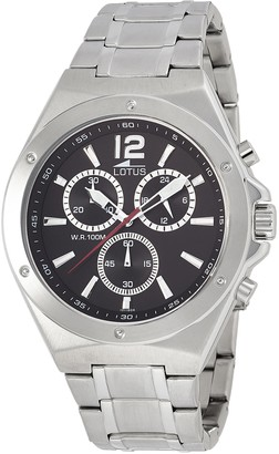 Lotus Men's Quartz Watch with Black Dial Chronograph Display and Silver Stainless Steel Bracelet 10118/4
