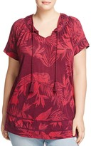 Lucky Brand Plus Tropical Print Top