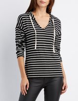 Charlotte Russe Striped High-Low Hoodie