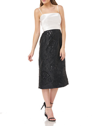 Carmen Marc Valvo Two-Tone Folded Mikado Dress w/ Jacquard Tea-Length Skirt