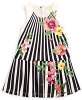 Hannah Banana Little Girl's Floral & Stripe Dress
