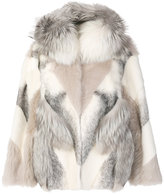 Yves Salomon layered hooded fur coat