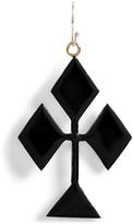 Nora Kogan Black Enameled Single Club-Shaped Earring