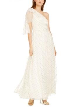 Brinker & Eliza One-Shoulder Polka-Dot Gown