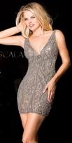 Scala Deep V Sequin Homecoming Dress