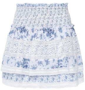 Love Sam Lace-trimmed Shirred Floral-print Cotton Mini Skirt