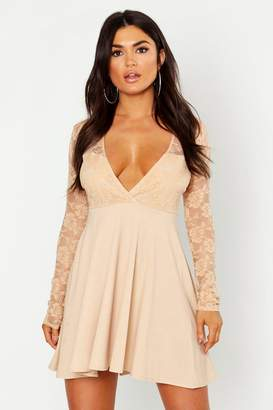 boohoo Long Sleeve Lace Top Skater Dress