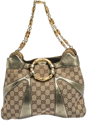 Gucci Beige/Metallic GG Canvas and Leather Limited Edition Tom Ford Bamboo Shoulder Bag