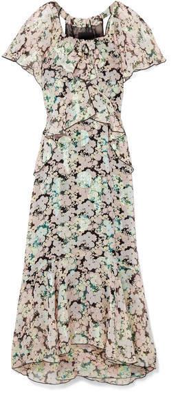 Anna Sui Night Bloom Printed Fil Coupé Silk-blend Chiffon Midi Dress - Green