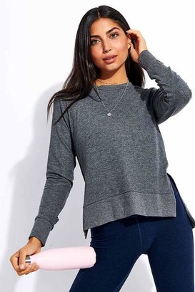 Beyond Yoga Just Chillin Long Sleeve Pullover Mid Heather Gray - XS