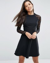 Asos Skater Dress with Lace Sleeves