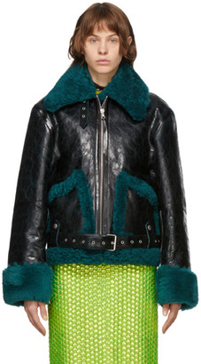 Dries Van Noten Black and Green Leather Sherpa Jacket