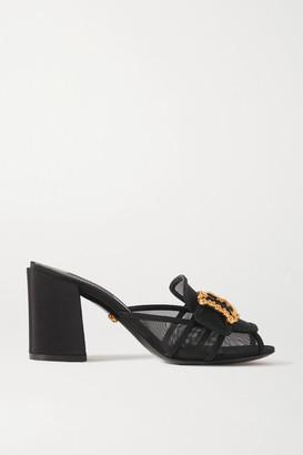 Dolce & Gabbana Embellished Mesh And Faille Sandals - Black