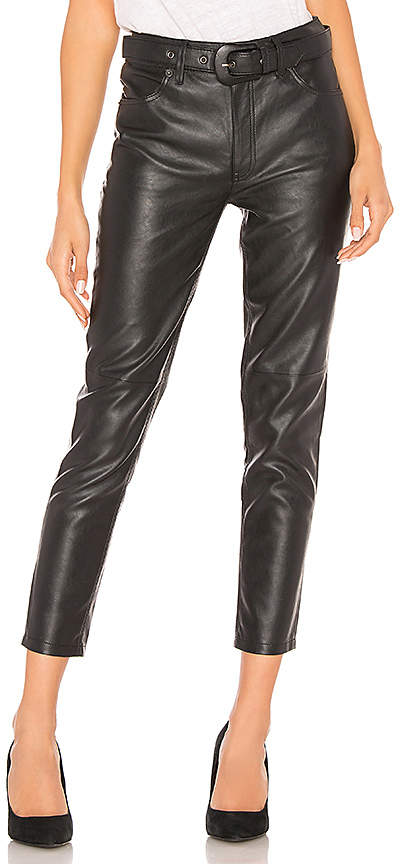 Belted Vegan Leather Skinny Pant
