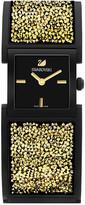 Swarovski Crystalline Bangle Black/Light Gold Tone Watch