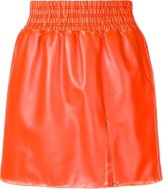 Miu Miu leather flared mini skirt