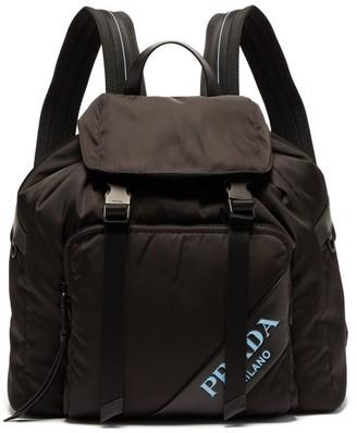 Prada Logo Nylon Backpack - Womens - Black