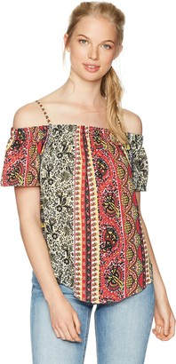 Amy Byer A. Byer Women's Printed Off The Shoulder Top