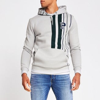 River Island Prolific grey stripe slim fit hoodie