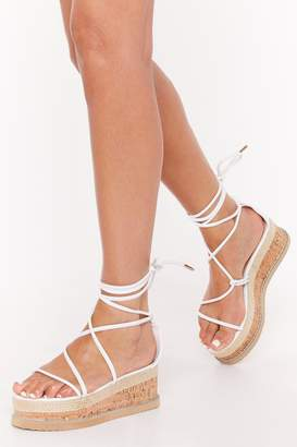 Nasty Gal Womens Pu Ankle Strap Flatform Sandal - White - 8