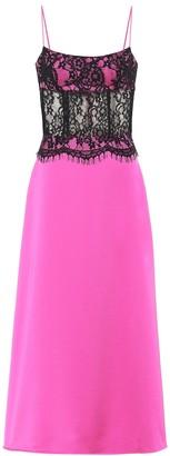 Rasario Lace and satin midi dress