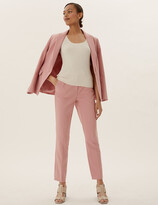Marks and Spencer Mia Slim Cotton Blend Ankle Grazer Trousers