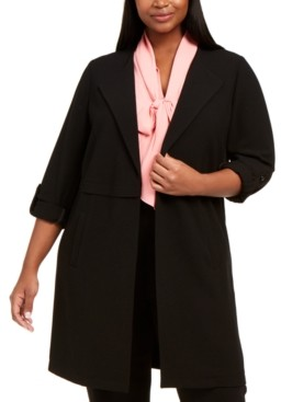 Bar III Trendy Plus Size Textured Soft Roll-Sleeve Topper Jacket, Created for Macy's