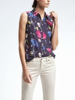 Banana Republic Easy Care Dillon-Fit Floral Sleeveless Shirt