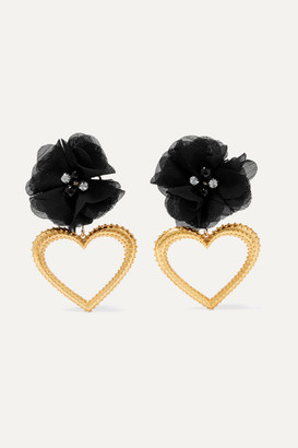 Mallarino Margot Gold-tone, Crystal And Silk Earrings - Black