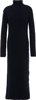 Marni Button-detailed Ribbed Wool Turtleneck Midi Dress