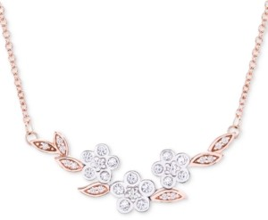 "Wrapped in Love Diamond Flower 17"" Collar Necklace (1/4 ct. t.w.) in 14k Rose & White Gold, Created for Macy's"