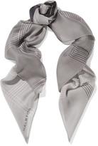 Halston Grid printed silk-chiffon scarf