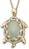 JCPenney FINE JEWELRY Jade Turtle Pendant Necklace 14K/Sterling Silver
