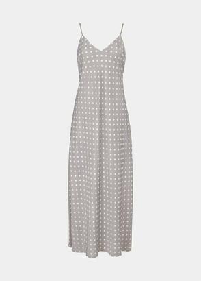 Essentiel Antwerp Grey and Off White Polka Dot Veva Long Slip Dress - UK 8