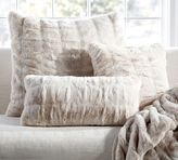 Pottery Barn Ruched Faux Fur Pillow Cover - Ivory