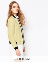 Helene Berman Yellow Metallic Tweed Bomber Jacket
