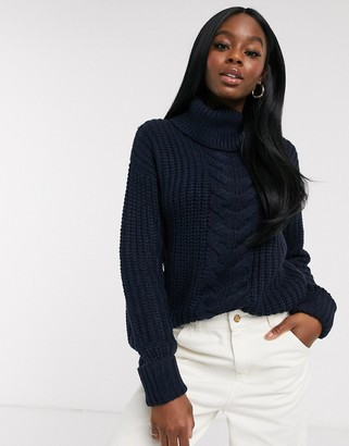Brave Soul anthorn roll neck cable knit sweater in navy