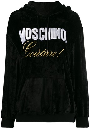 Moschino Embroidered-Logo Couture Hoodie