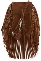 Saint Laurent Anita Toy Flat Suede Fringe Crossbody Bag, Brown
