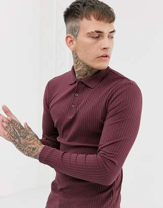 Asos Design DESIGN muscle fit long sleeve polo in rib in burgundy-Red