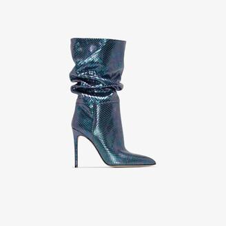 Paris Texas Blue 105 Snake Print Leather Boots