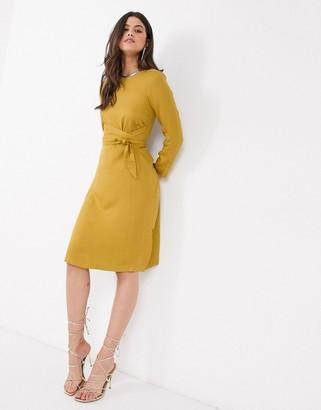 Closet London Closet tie front A line midi dress in mustard