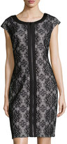 Jax Lace Zip-Front Sheath Dress, Black/Ivory