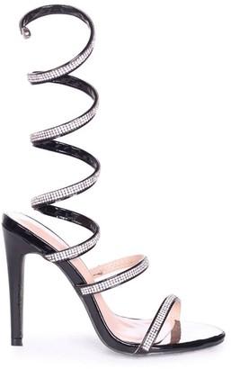 Linzi Marcie Black Structured Spiral Wrap Around Heels