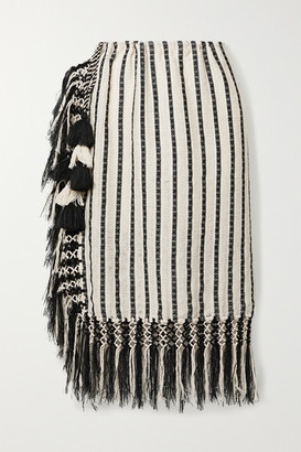 Jaline - Nieves Fringed Tasseled Cotton-gauze Pareo - Ivory